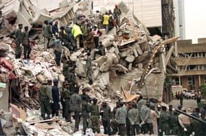 Rescue workers sift through rubble in an attempt to find survivors after the US embassy bombing in Nairobi, Kenya.