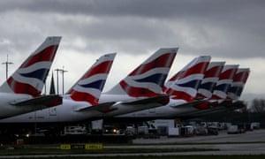 British Airways planes near Terminal 5 at Heathrow airport in London