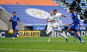Raphinha goes close for Leeds.