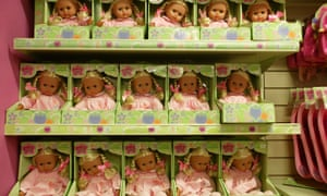 Rows of dolls at Hamleys ... 'We had to introduce ourselves in a funny way, or sing it,' says one sales assistant of the selection process.