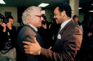 Bernie Sanders, mayor of Burlington at the time, greets presidential candidate Jesse Jackson in 1988.