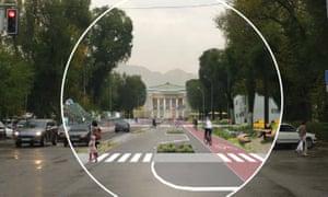 Jan Gehl's vision of a pedestrian and cycle friendly Paniflov Street in Almaty