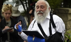 Rabbi Yisroel Goldstein speaks at a news conference at the Chabad of Poway synagogue. AP Photo/Denis Poroy