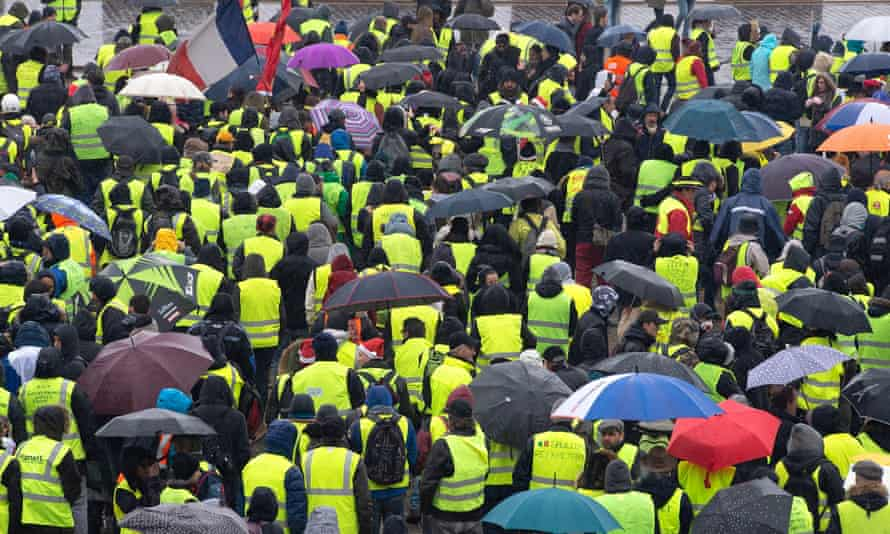 French yellow vest protesters, such as these in Bordeaux, have inspired others in Canada to take to the streets.