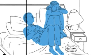 Illustration of a couple in cramped room