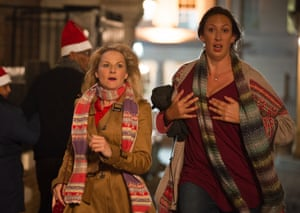 Hart with actor Sarah Hadland as Stevie in a scene from Miranda.