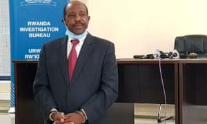 Paul Rusesabagina in handcuffs at the Rwanda Investigation Bureau, Kigali, Rwanda