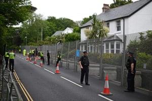 Officers on patrol outside a hotel in Tregenna Castle, near St Ives