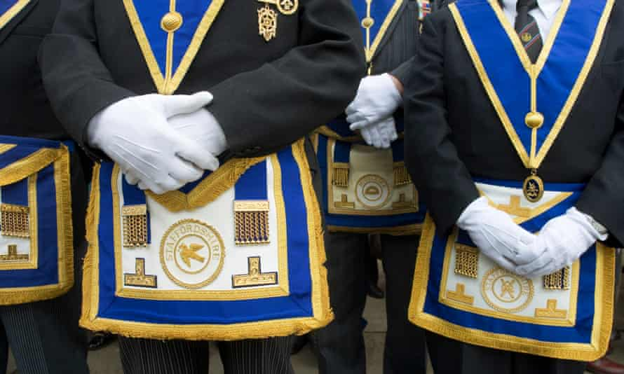 Freemasons in full regalia