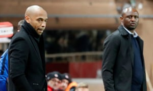 Thierry Henry and Patrick Vieira watch Monaco's dramatic draw with Nice from the touchline.