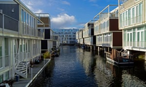 Floating houses in the IJburg district of Amsterdam, Netherlands.