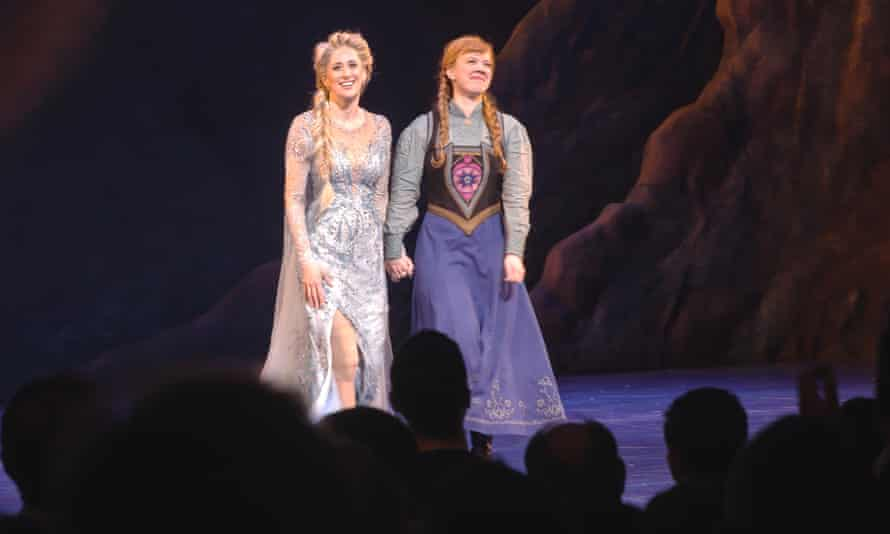 Caissie Levy (Elsa) and Patti Murin (Anna) during the first performance of Frozen on Broadway.