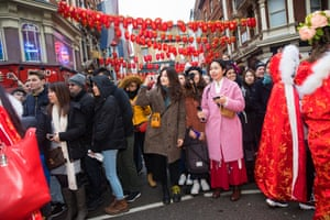 Spectators watching Chinese new year celebrations