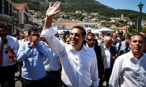 Alexis Tsipras greets supporters on the island of Ithaca last week