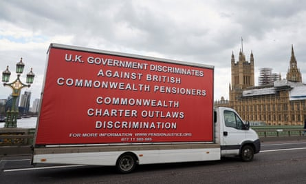 A van hired by the International Consortium of British Pensioners to protest about the frozen pensions issue