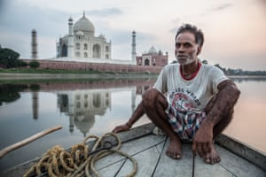 At the Taj Mahal but way from the crowds with a local boatman at sunset.