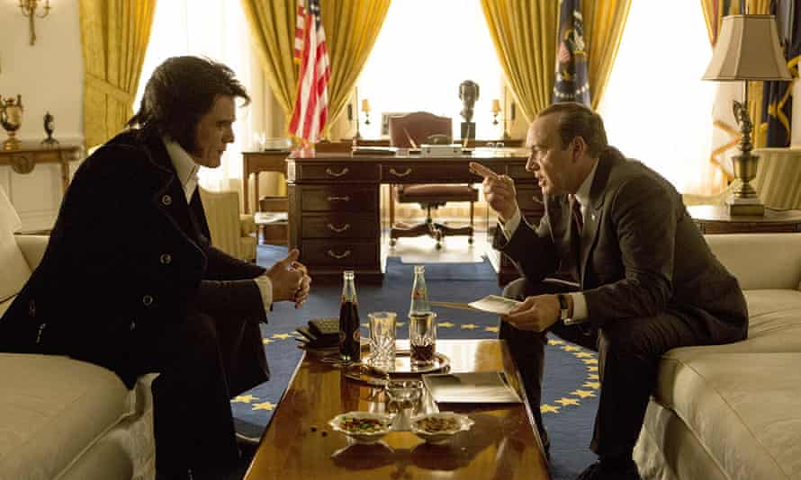 Double trouble: Michael Shannon as Elvis Presley, left, and Kevin Spacey as Richard Nixon.