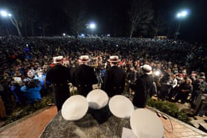 Members of the United States Naval Academy's Clean Shave barbershop quartet entertain the crowd.