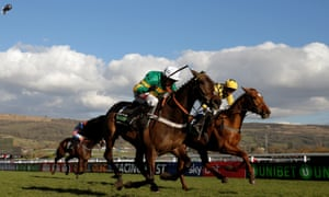 Barry Geraghty gets up late on board Buveur D'Air to win the Champion Hurdle at the Cheltenham Festival.