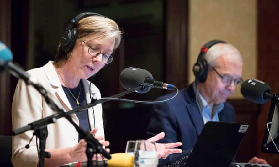 Radio 4 Today presenters Sarah Montague and John Humphrys broadcast  Today programme at Wigmore Hall in central London