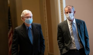 Mitch McConnell, left, at the Capitol on Thursday.