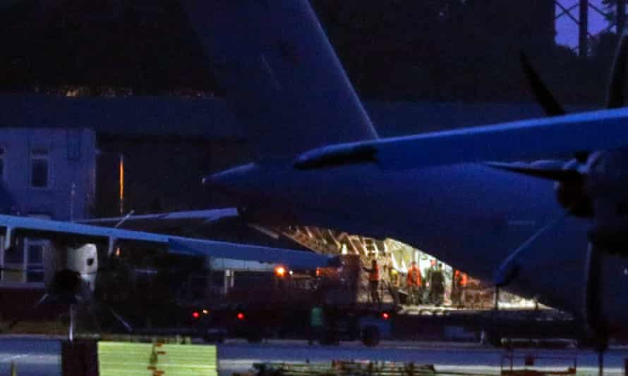 An RAF plane at Brize Norton in Oxfordshire unloading PPE on 23 April.