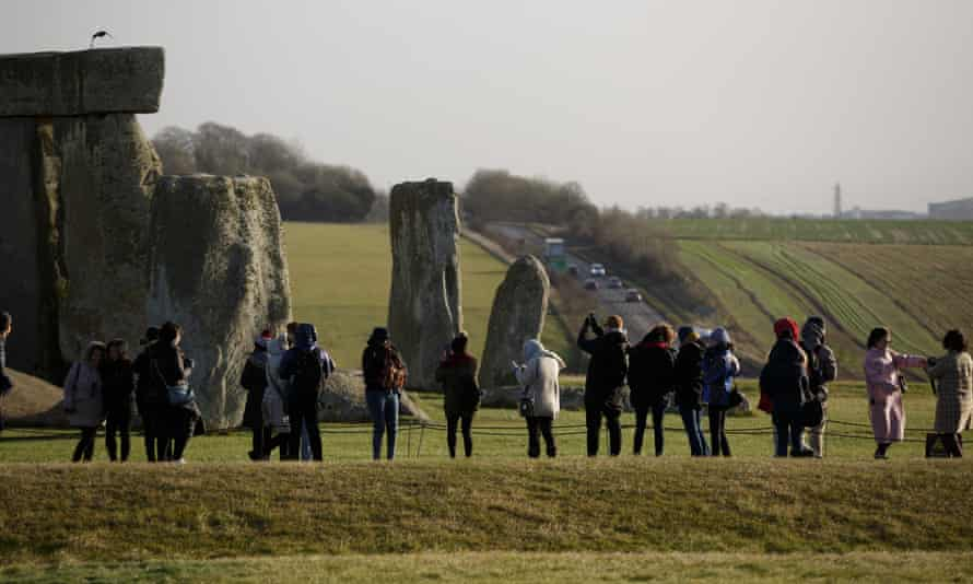 Stonehenge and the A303. Plans to bury the road in a tunnel are under review.