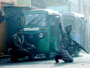Colombo, Sri Lanka Security personal react as a device was detonated in a controlled explosion in a van near the St Anthony's Church Kochchikade