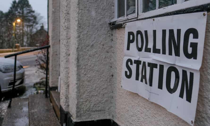 A sign outside a polling station.