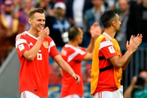 Denis Cheryshev celebrates after helping Russia to a 5-0 victory over Saudi Arabia.