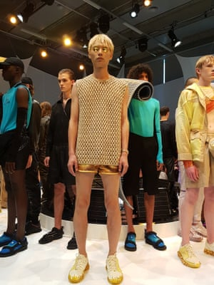 Cottweiler: Those Cottweiler boys know how to get our attention. A season on from their crystal-themed show in the Natural History Museum, they slowed things right down with a spiritual sound bath. As you would expect from the Woolmark winners, the knitwear – from head to trainers – was strong.