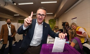 Richard Di Natale says the Greens will 'stand strong against the excesses of the Morrison government' after having its senators re-elected