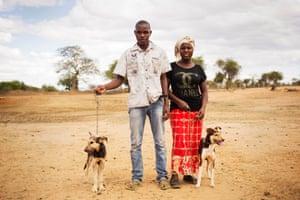Miriam and Munyao Musyoka with their dogs