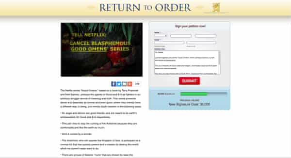 Return to Order's Good Omens petition.