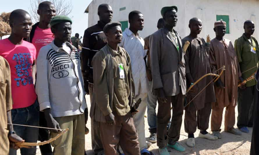 Members of a local group set up to fight Boko Haram in Cameroon, pictured in February.