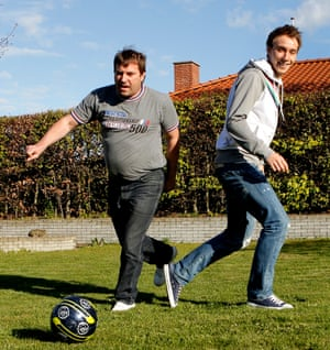 Christian Eriksen playing football in his parent's garden in Middelfart with his father Thomas.