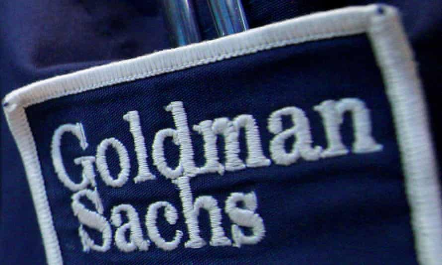 The logo of Goldman Sach on the clothing of a trader