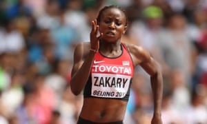 Joyce Zakary of Kenya competes in the women's 400m heats during day three of the World Athletics Championships in Beijing.