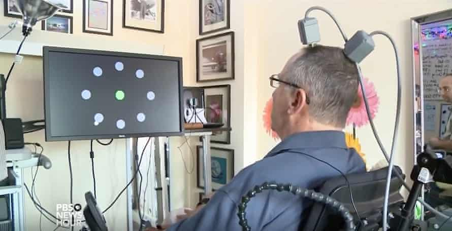 Dennis Degray uses Utah array implants to manipulate the cursor on a computer screen.