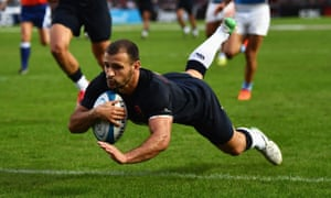 Danny Care dives over to score from Mike Brown's pass.