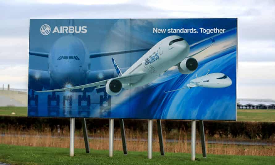 An Airbus sign at the wing assembly factory in Broughton, north Wales.