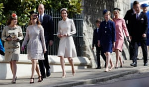 Prince William and the Duchess of Cambridge, arrive at the Easter Sunday service at Windsor Castle