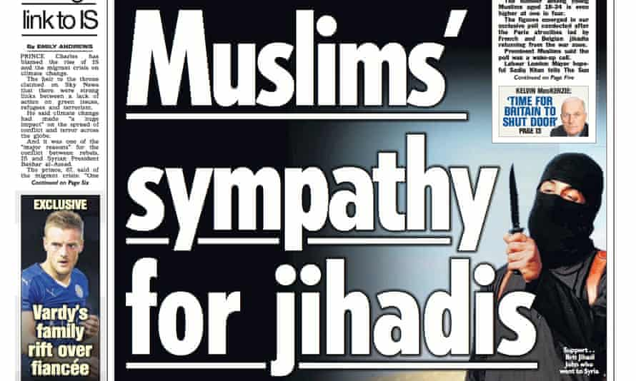 The Sun front page on British Muslim 'sympathy for jihadis'