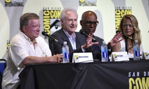 William Shatner, from left, Brent Spiner, Michael Dorn and Jeri Ryan attend the Star Trek panel on day three of Comic-Con International on Saturday in San Diego.