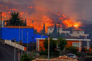 Fire and lava in the town