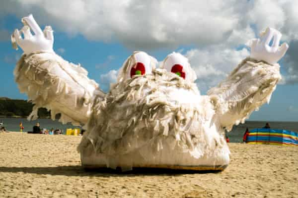 A campaign by the Marine Conservation Society and Southern Water to raise awareness that wet wipes should not be flushed, Gyllyngvase Beach, Falmouth, Cornwall