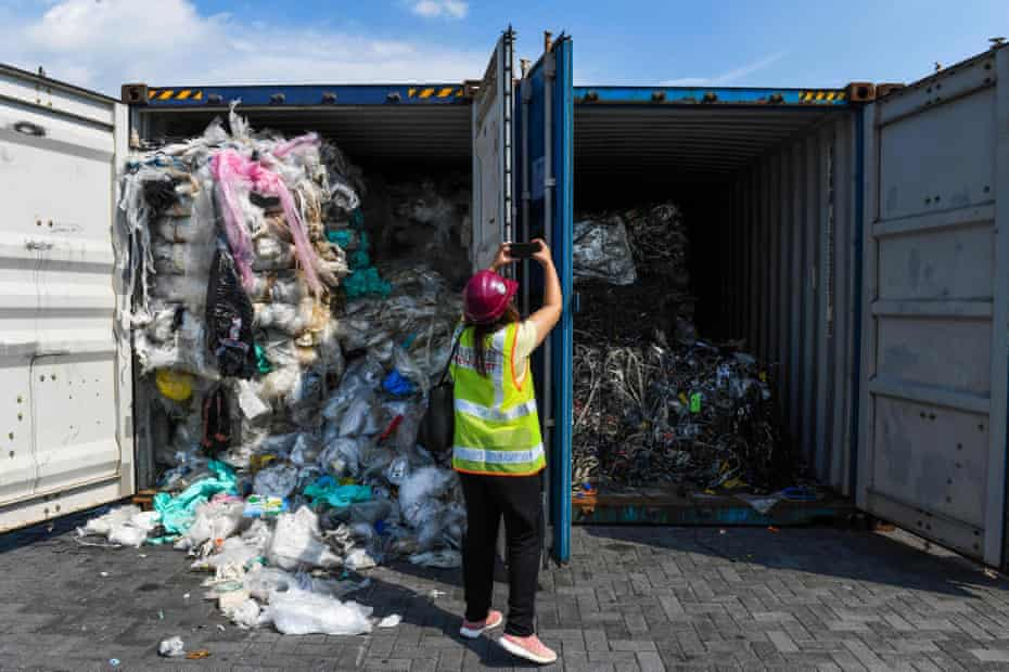 Containers filled with plastic waste are seen before being sent back to their countries of origin in Port Klang, Malaysia.