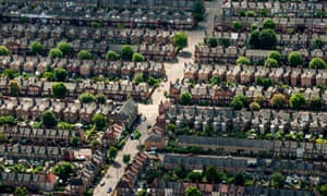 Aerial view of houses on residential streets in London