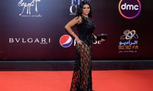 Rania Youssef poses on the red carpet at the closing ceremony of Cairo international film festival last month.