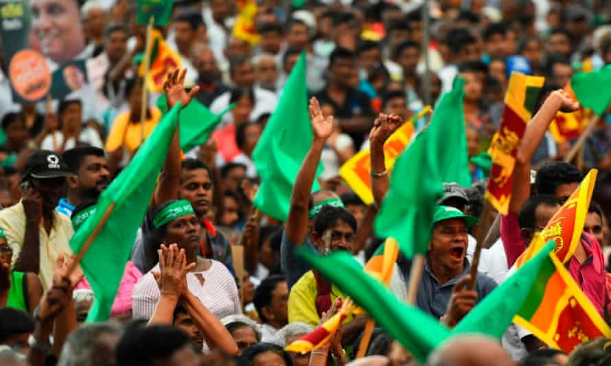 Supporters of the United National Party and New Democratic Front presidential candidate Sajith Premadasa at a campaign rally in Pugoda, Sri Lanka, 11 November 2019.